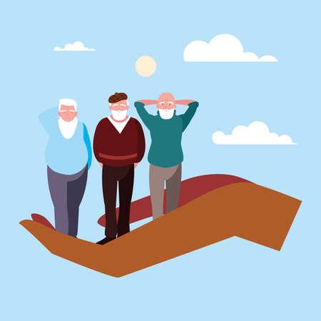 lets take care of the old men vector illustration design