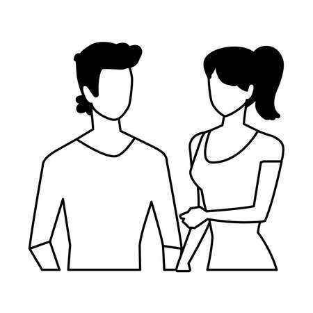 couple in love, man and woman showing affection vector illustration design