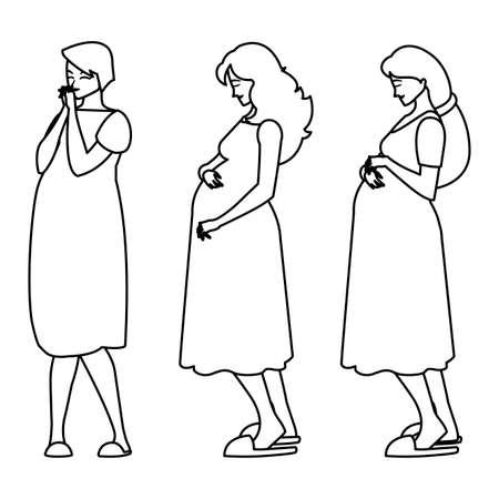 group of beautiful pregnancy women characters vector illustration design Standard-Bild - 148263528