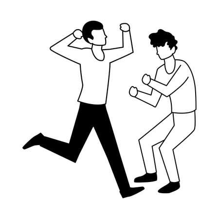 men in pose of dancing on white background vector illustration design 向量圖像
