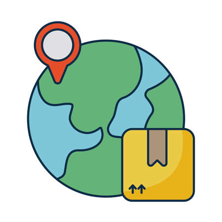 planet earth with cardboard box on white background vector illustration design