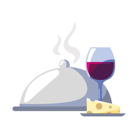 wine glass with piece of cheese and tray server on white background vector illustration design Vetores