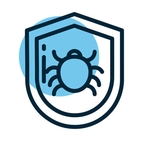 shield with malware, line style icon vector illustration design Illustration