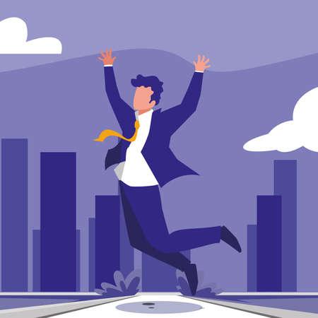 businessman celebrating victory, business professional woman vector illustration design