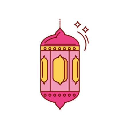 illuminated lamp on ramadan kareem on white background vector illustration design