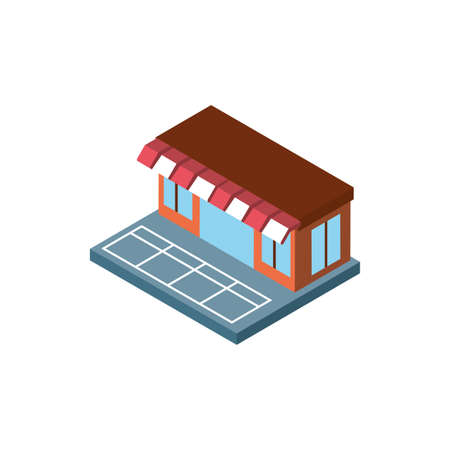 Isometric store design, City architecture urban modern downtown contemporary metropolis exterior and construction theme Vector illustration