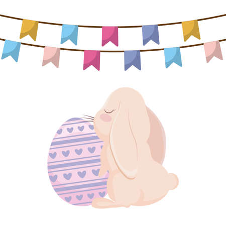 cute rabbit and eggs of easter with garlands hanging vector illustration design