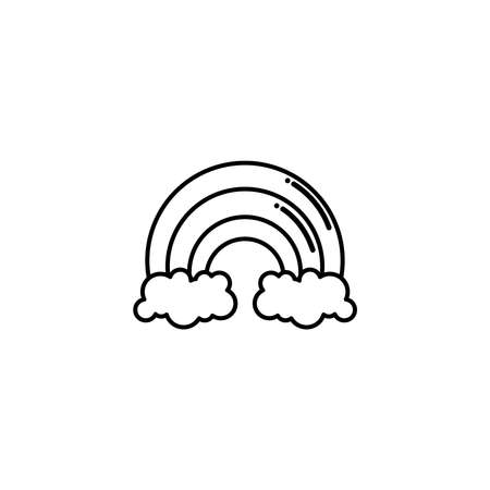 rainbow with clouds, flat style icon vector illustration design 矢量图像