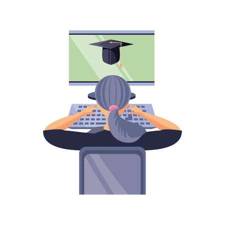 woman in front a the desktop computer, online education vector illustration design
