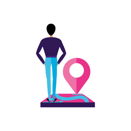 man with pin pointer location icon vector illustration design