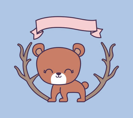 cute bear animal with ribbon and branches vector illustration design Illustration