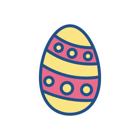 easter egg with striped and dots design over white background, line style icon, vector illustration