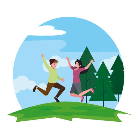 happy young couple celebrating in the camp vector illustration design