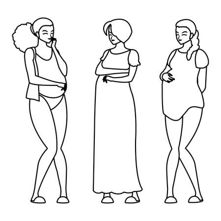 group of beautiful pregnancy women characters vector illustration design Standard-Bild - 148212320
