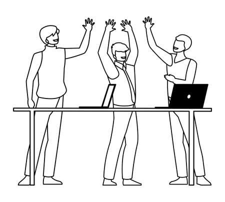 group of businessmen in the office scene vector illustration design