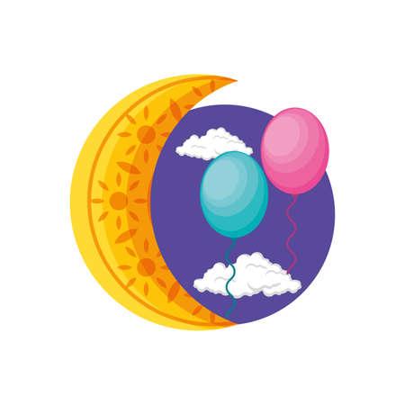 ramadan kareem moon crescent with balloons helium vector illustration design  イラスト・ベクター素材