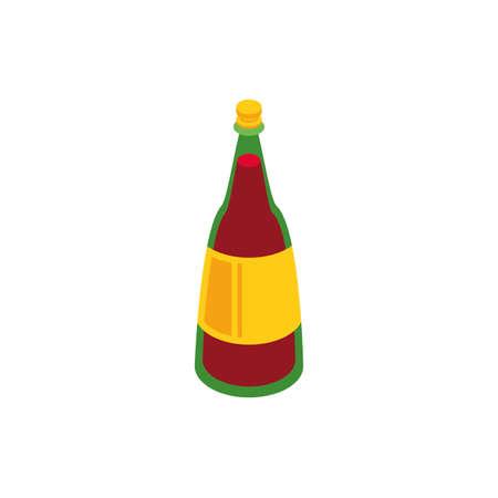 Wine bottle design, Winery alcohol drink beverage restaurant and celebration theme Vector illustration Ilustrace