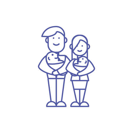 Mother father and babies design, Family relationship generation lifestyle person character friendship and portrait theme Vector illustration