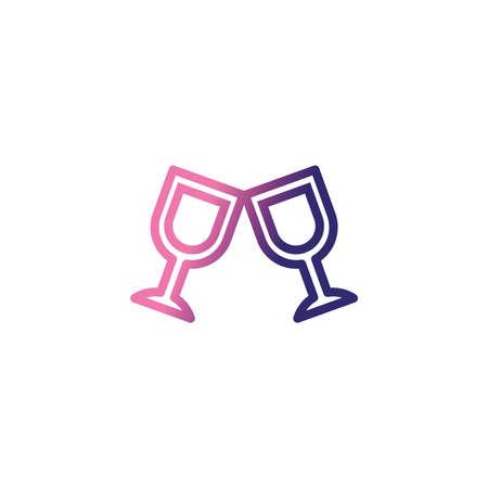 wine glasses, gradient style icon vector illustration design