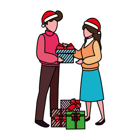 couples with gift boxes on white background vector illustration design