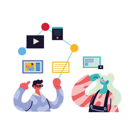 couple working and learning online vector illustration design Vecteurs