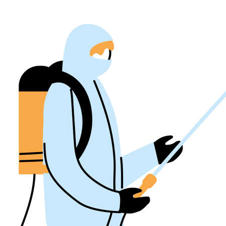Man wearing protective and disinfectant suit isolated vector illustration design
