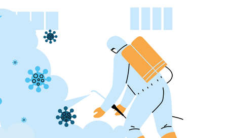 Man wearing protective suit and disinfectant isolated to avoid covid 19 vector illustration design Illustration