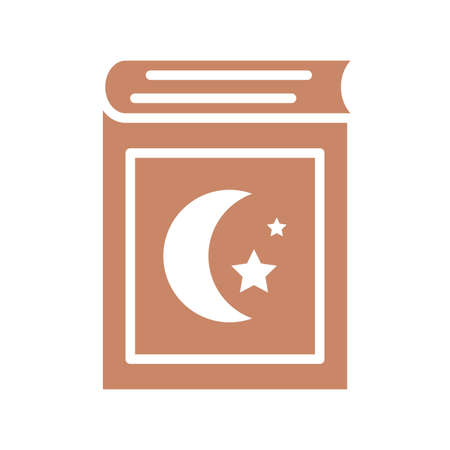 holy koran icon over white background, silhouette style, vector illustration