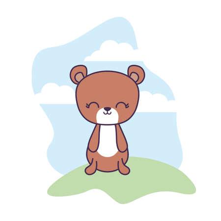 cute bear animal in landscape scene vector illustration design