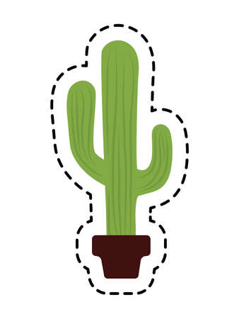 patch cactus in pot plant isolated icon vector illustration design
