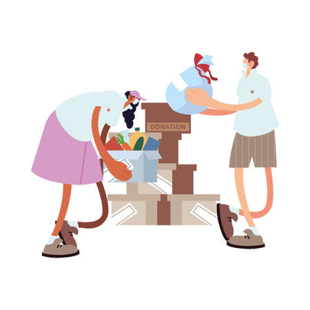delivery couple on the way to the customer with face mask vector illustration design