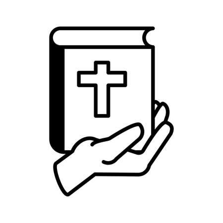 hands holding an catholic bible on white background vector illustration design