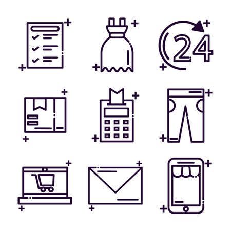 set of icons shopping line style icon vector illustration design Ilustracja