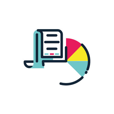 Document and cake design, workflow infographic data information business analytics and visual presentation theme Vector illustration