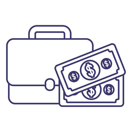 Suitcase and bills of money financial item banking commerce market payment buy currency accounting and invest theme Vector illustration Ilustracja