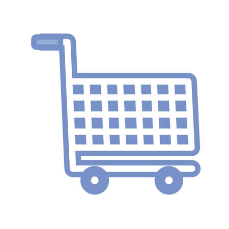 shopping cart icon over white background, blue outline style, vector illustration Ilustracja