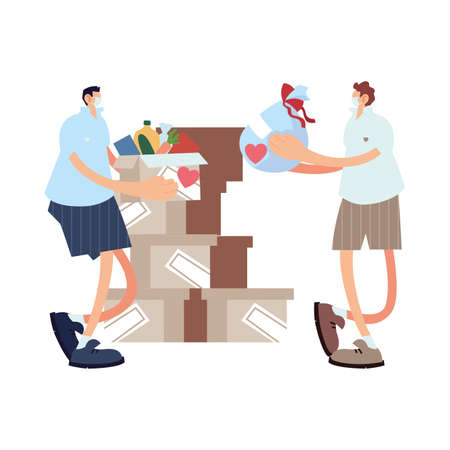delivery men on the way to the customer with face mask vector illustration design 矢量图像