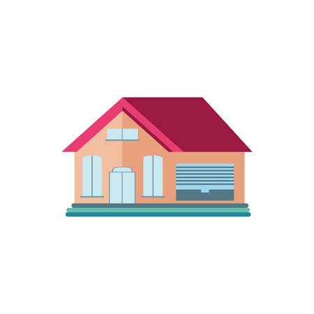 cute building of house on white background vector illustration design Иллюстрация