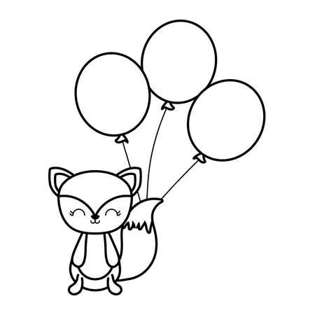 cute fox animal with balloons helium vector illustration design Ilustracja
