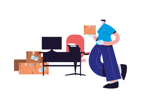 male courier with mask in office vector illustration desing