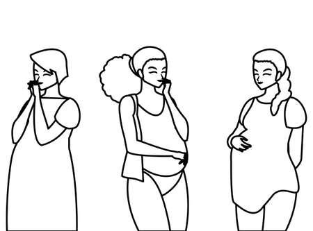 group of beautiful pregnancy women characters vector illustration design Standard-Bild - 148398107