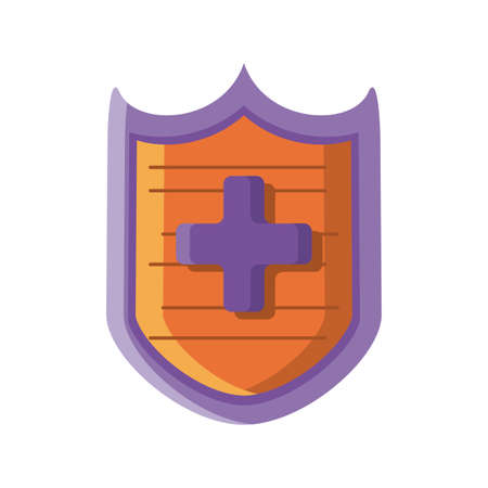 shield with cross on white background vector illustration design