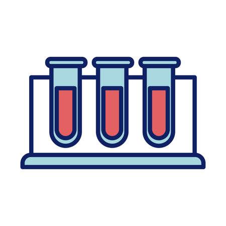 chemical laboratory test tubes, line and fill style icon vector illustration design Ilustração