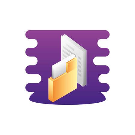 folder documents data with document vector illustration design Ilustracja