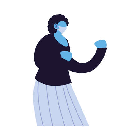 woman compromised against increased coronavirus vector illustration design
