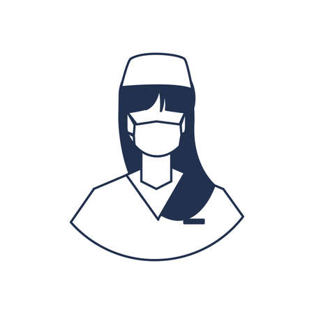 female doctor with medical face mask, medical staff , line style icon vector illustration design