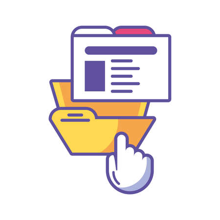 folder with file sheet on white background vector illustration design