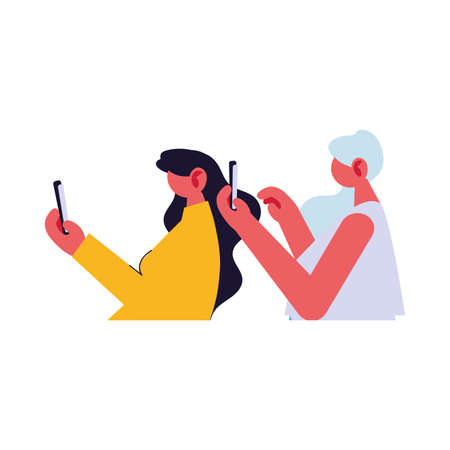 women connected online by different electronic means vector illustration design