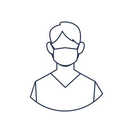 man doctor with medical face mask, medical staff , line style icon vector illustration design Иллюстрация
