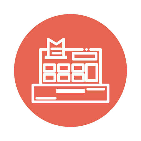 cash register block and flat style icon vector illustration design